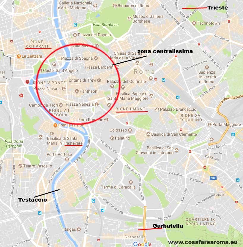 mappa migliori quartieri roma