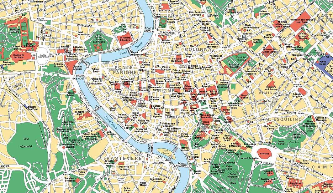 Cartina Centro Roma.Mappa Roma Centro Con La Lista Dei Monumenti Da Conservare Cosa